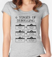 6 Stages Of Debugging Computer Programming Women's Fitted Scoop T-Shirt