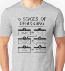 6 Stages Of Debugging Computer Programming Coding Slim Fit T-Shirt