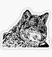Wolf Black and White Portrait Sticker