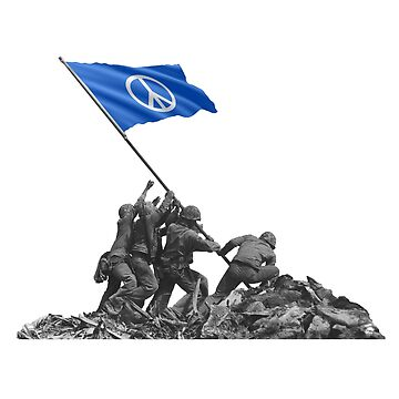 Soldiers Raising Peace Symbol Flag at Iwo Jima by tpz757