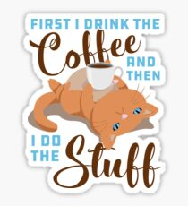 Coffee and Stuff Cat Sticker
