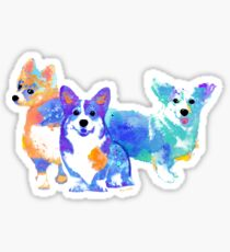 corgi watercolor pet portrait | Three Amigos Sticker