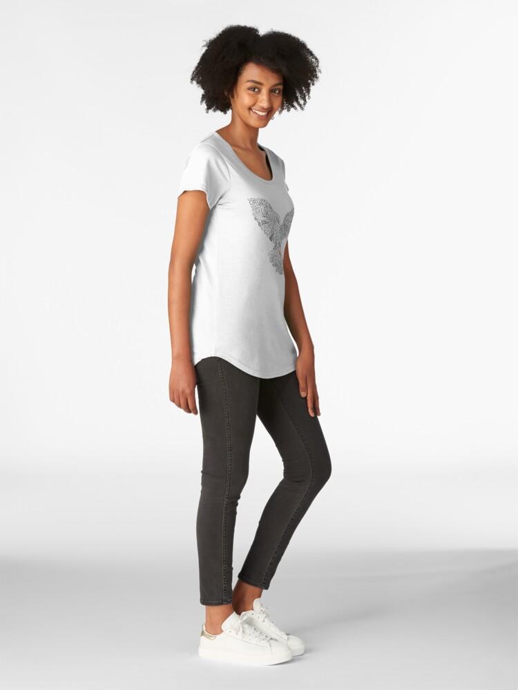 Alternate view of Typographic Peace Dove (black) Premium Scoop T-Shirt