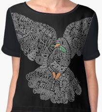 Typographic Peace Dove (black) Women's Chiffon Top