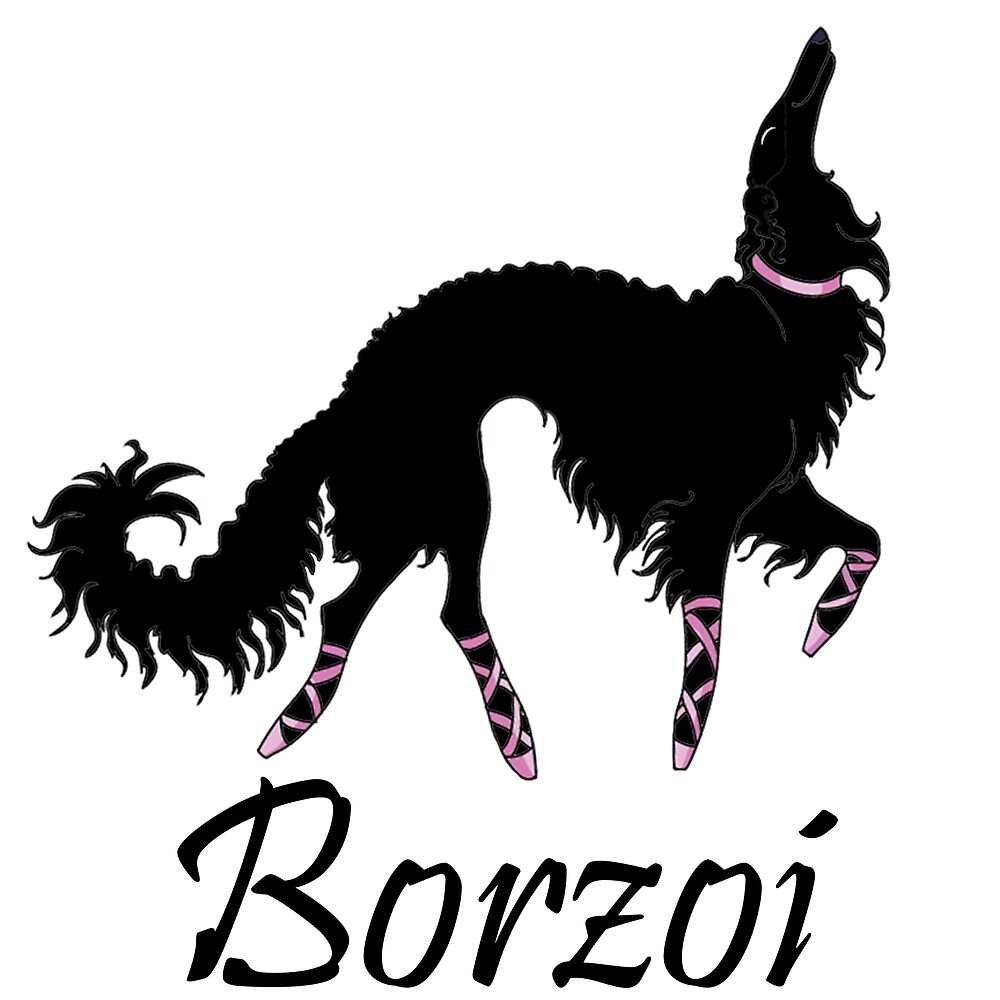 Ballet Borzoi Beauty In Black by Happy Dog Swag