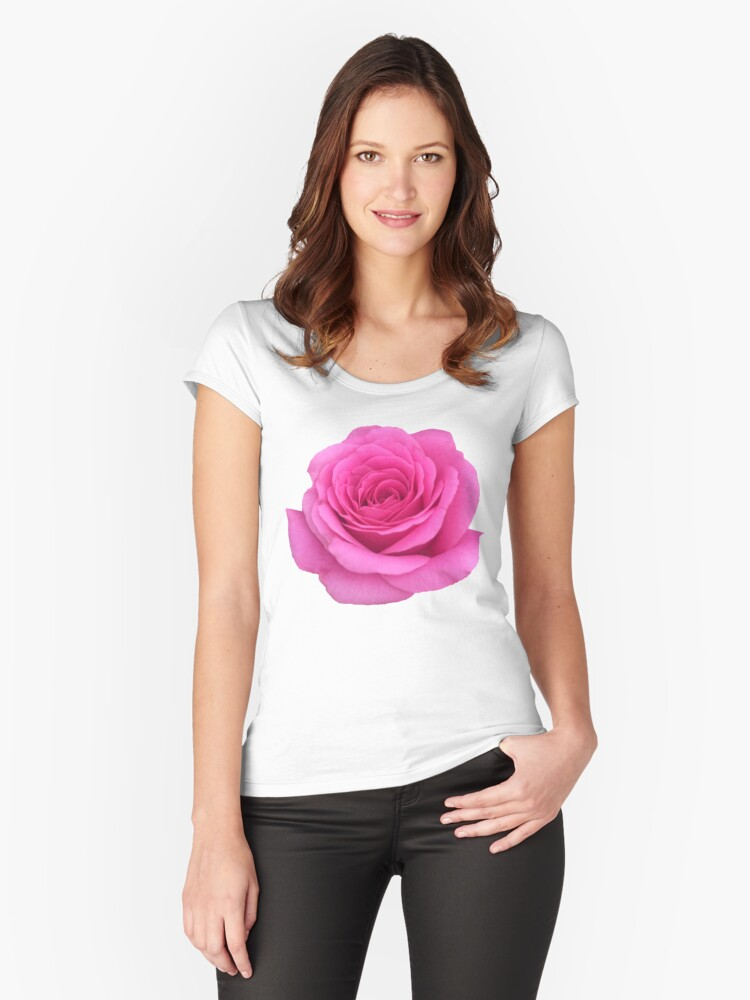 Pink Rose  Women's Fitted Scoop T-Shirt Front