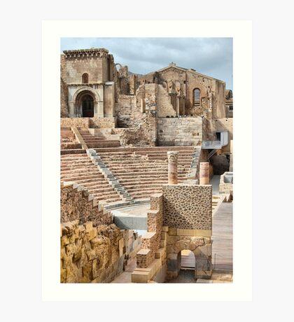 Remains of Roman Theatre & Santa Maria La Vieja Cathedral, Cartagena, Spain Art Print