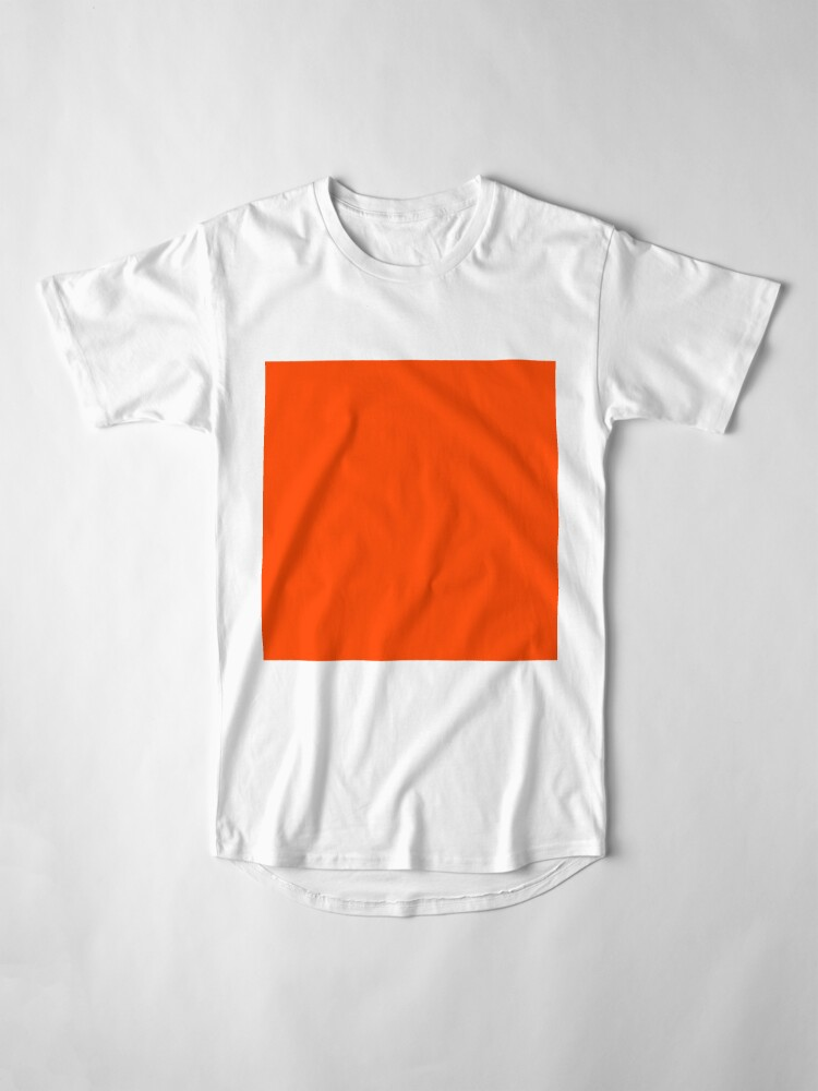 Alternate view of PLAIN ORANGE RED | SOLID COLOR ORANGE RED Long T-Shirt