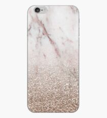 Glitter ombre - pink marble & rose gold glitter iPhone Case