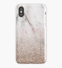 Glitter ombre - pink marble & rose gold glitter iPhone Case/Skin