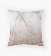 Glitter ombre - pink marble & rose gold glitter Throw Pillow