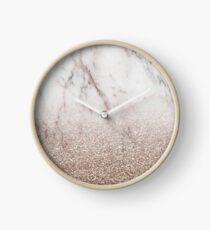 Glitter ombre - pink marble & rose gold glitter Clock