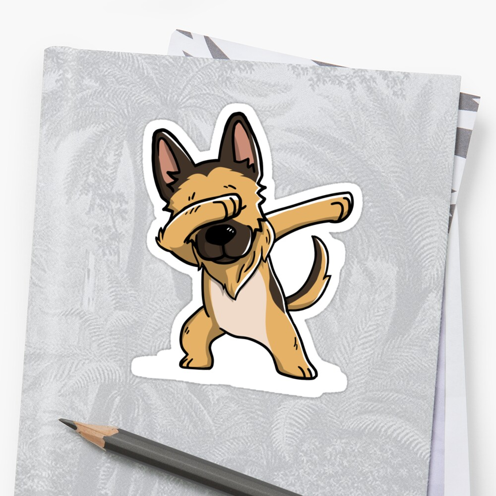 Dabbing German Shepherd Funny Stickers By Ilovepaws Redbubble