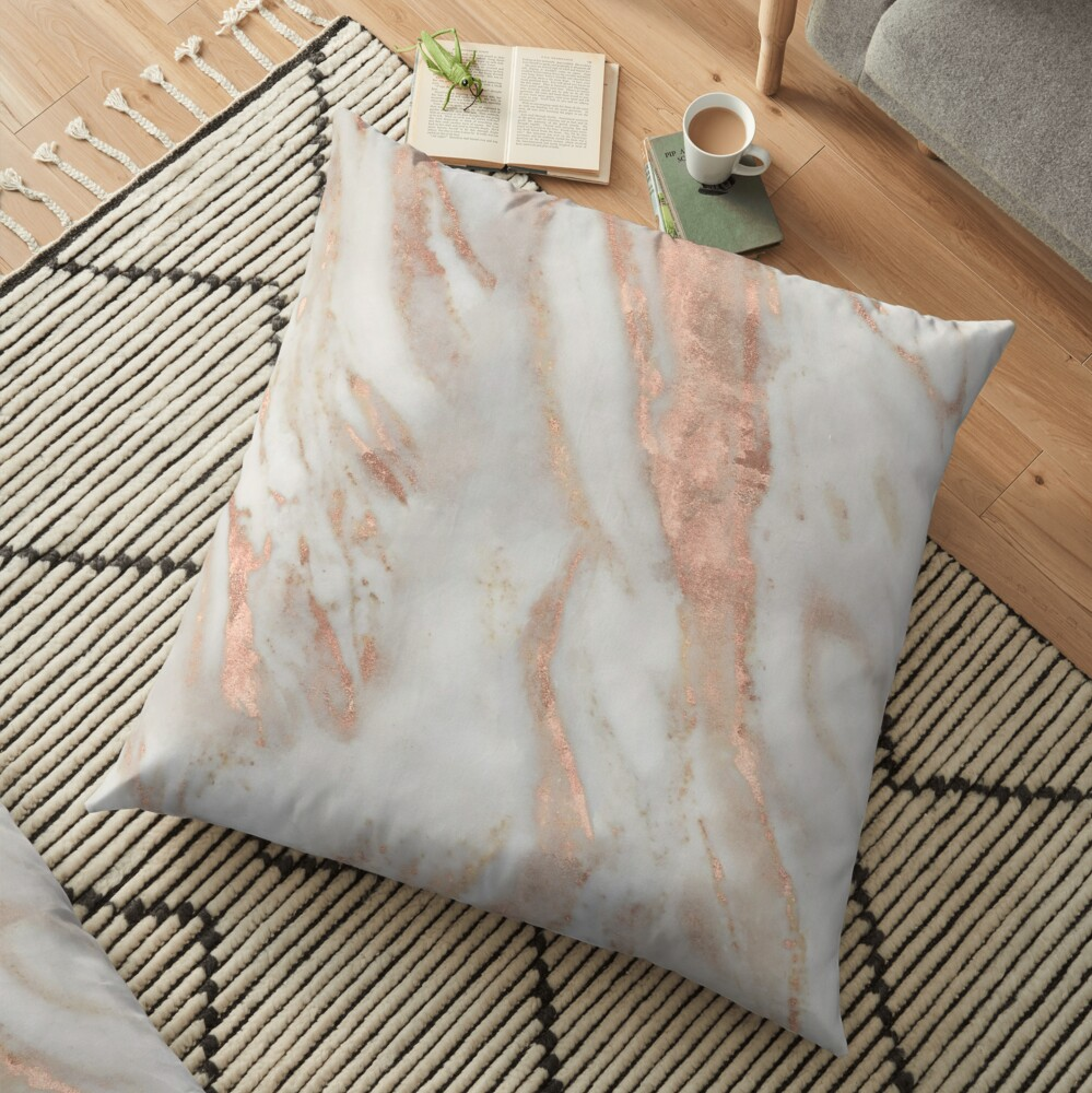 Civezza - rose gold marble Floor Pillow