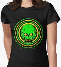 Lime Green Skull Spinner - Art By Kev G Women's Fitted T-Shirt