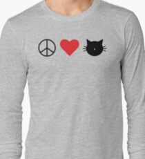 Peace Love Cats Graphic Design Long Sleeve T-Shirt