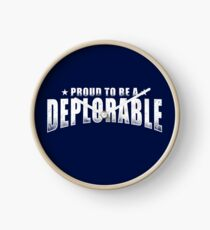 Proud to be a Deplorable patriot American flag Clock