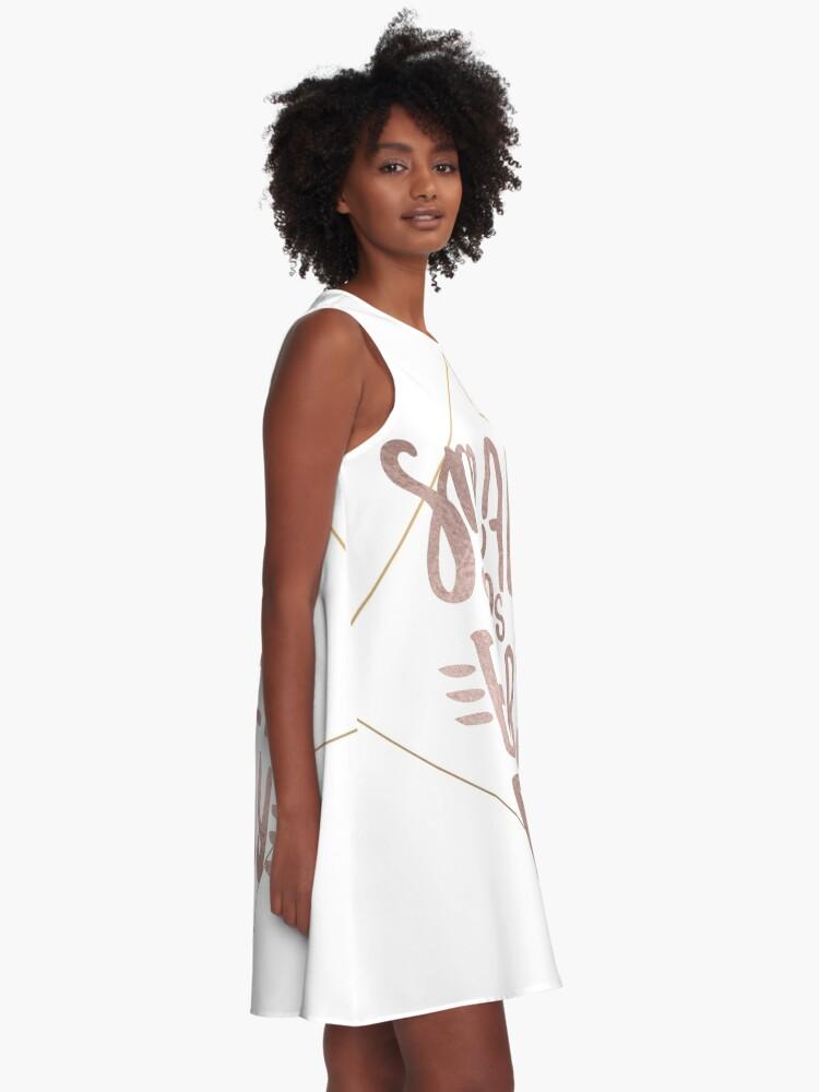 Alternative Ansicht von Kleine Schritte - Roségold-Zitat A-Linien Kleid