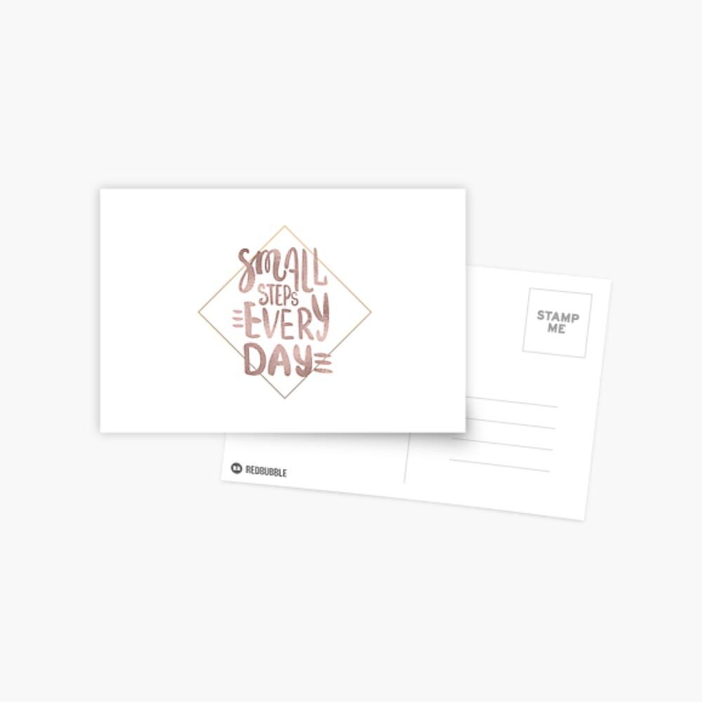 Kleine Schritte - Roségold-Zitat Postkarte
