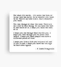 Für was es wert ist - F Scott Fitzgerald-Zitat Metallbild