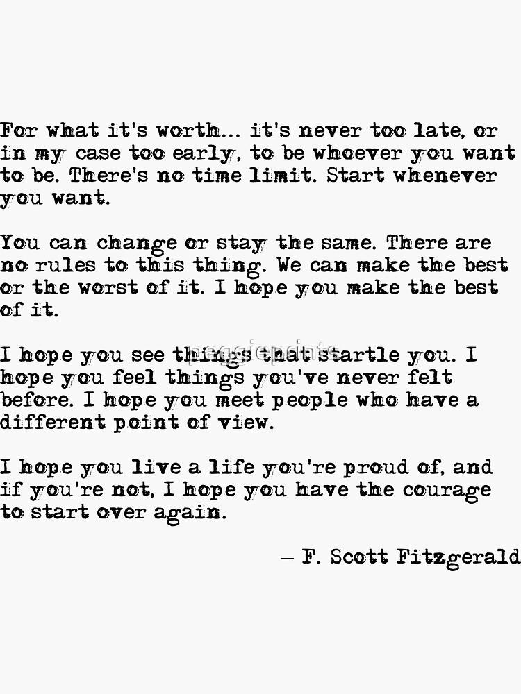 Por lo que vale la pena - F Scott Fitzgerald cita de peggieprints