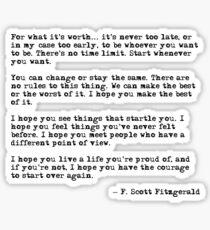 Pegatina Por lo que vale la pena - F Scott Fitzgerald cita