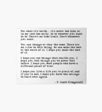 For what it's worth - F Scott Fitzgerald quote Art Board Print