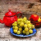 White Grapes, Red Teapot and Apples by jean-louis bouzou