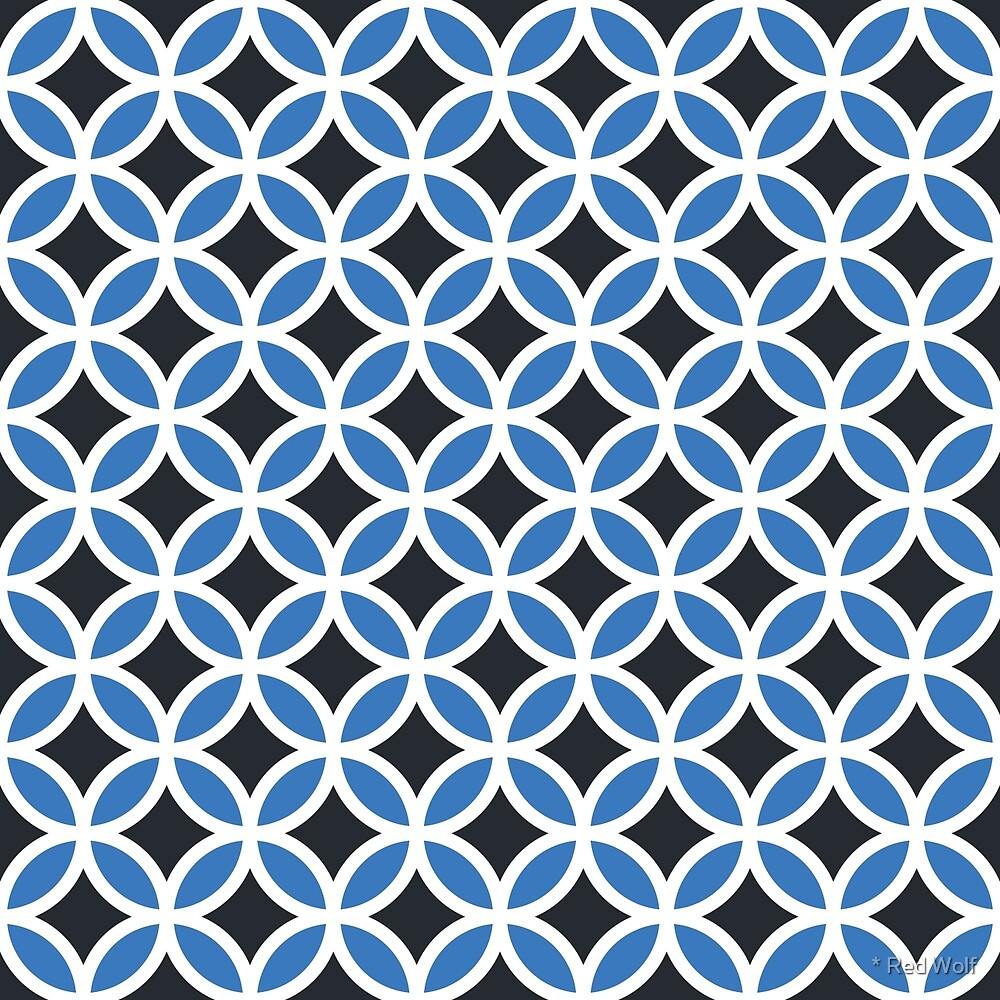 Geometric Pattern: Circle: Blue/Black by * Red Wolf