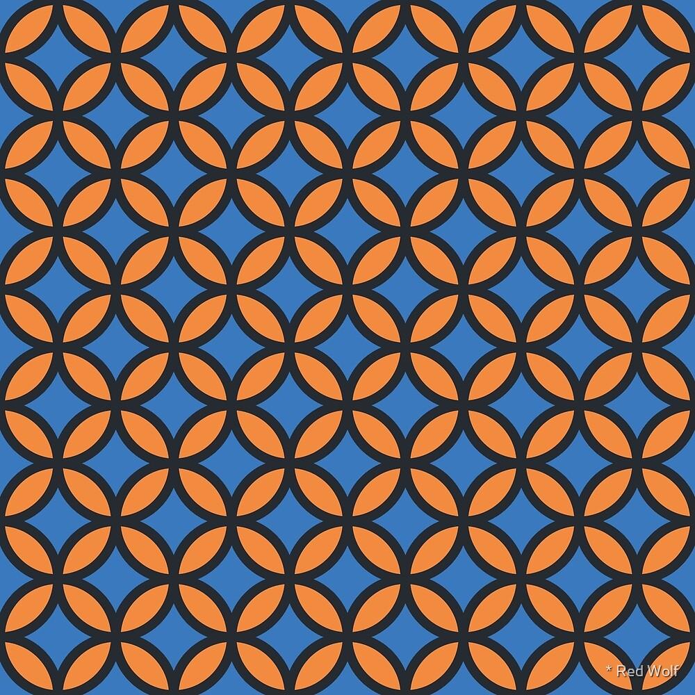 Geometric Pattern: Circle: Blue/Orange by * Red Wolf