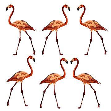 Pink Flamingo Birds  by Manitarka