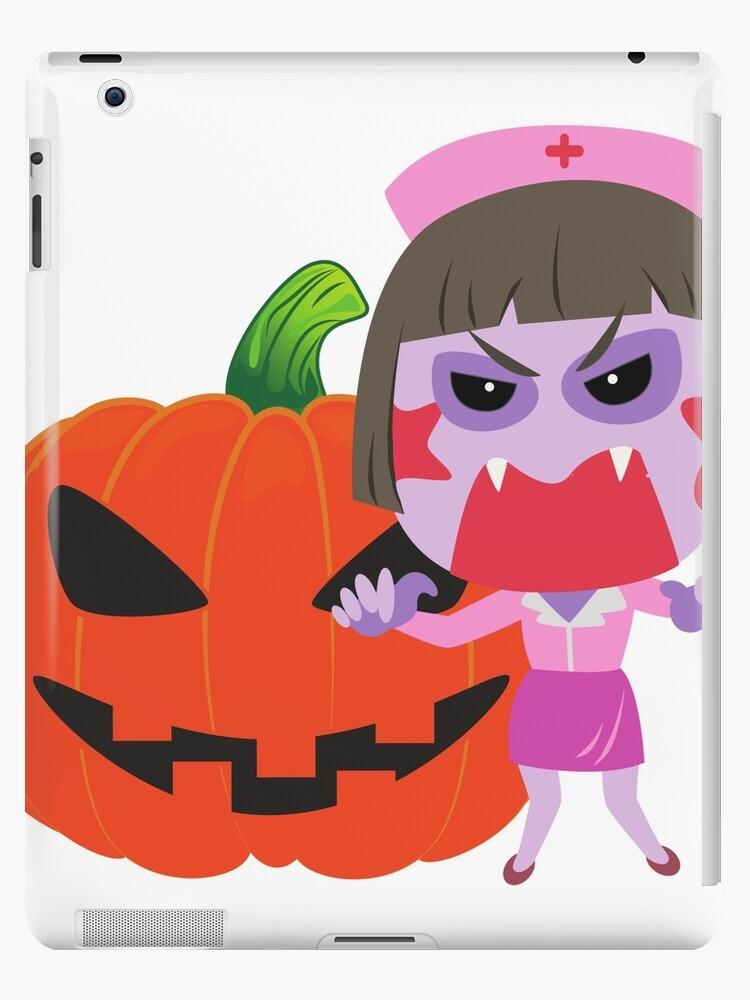 279fa38d Nurse Halloween Emoji Scary Pumpkin Face Funny T-shirt