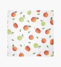 Modern hand painted red orange green watercolor apples Scarf