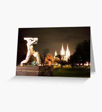 The Don! Statue at the entrance of  Adelaide cricket grounds. Greeting Card