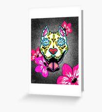 Slobbering Pit Bull - Day of the Dead Sugar Skull Pitbull Dog Greeting Card