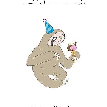 Birthday Card - Sloth by maxhornewood