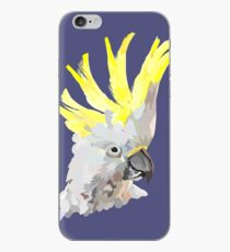 Sulphur crested cockatoo- navy blue background iPhone Case