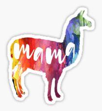Mama Llama, Watercolor, Aquarell Sticker