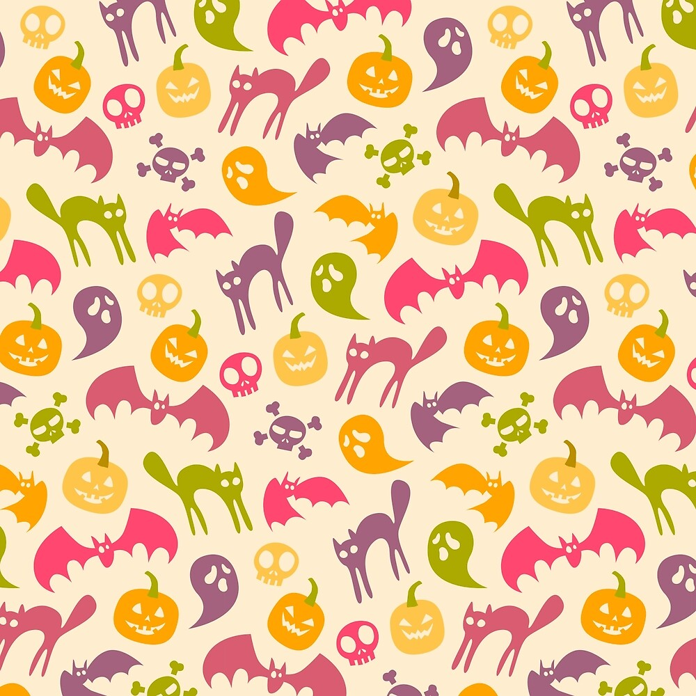Neon Halloween Pattern - Eggshell Background by goddammitstacey