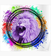Colourful rainbow lion explosion Poster