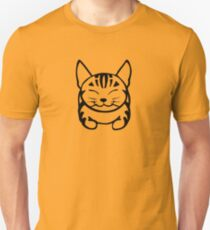 Happy Cat - Tabby (black) - Large pic T-Shirt