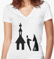 church man horse Women's Fitted V-Neck T-Shirt