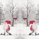 Gnome and bullfinch by Lisbeth Thygesen
