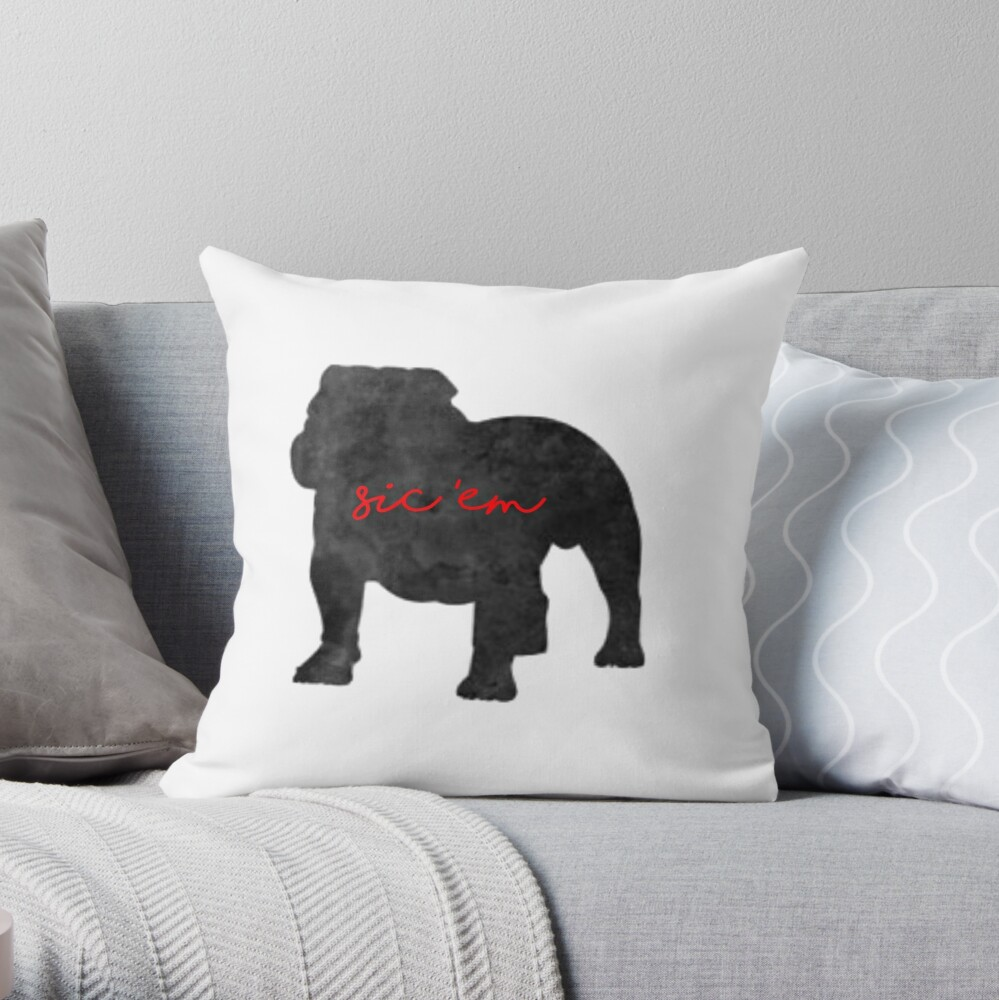 sic em uga georgia bulldogs Throw Pillow