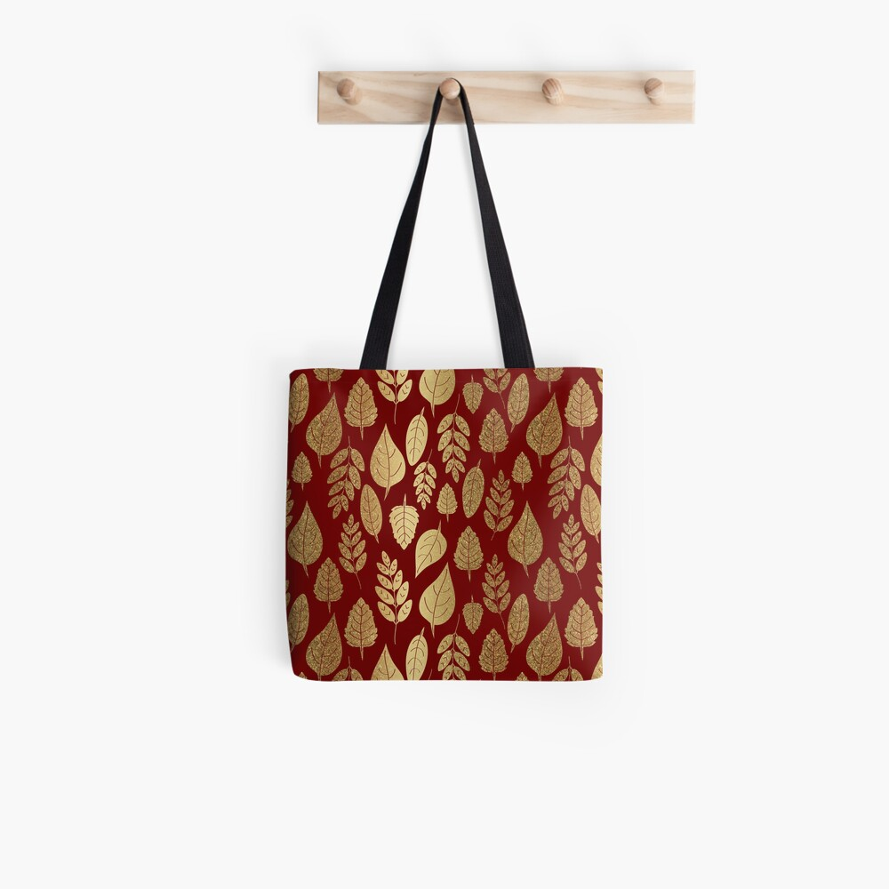 Gold and Red Leaf Pattern Tote Bag