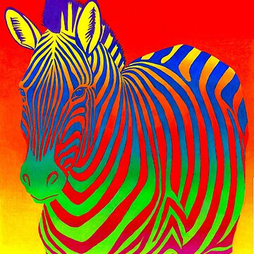 Psychedelic Colorful Rainbow Zebra by lioncrusher