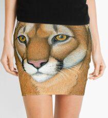 Cougar Mountain Lion Puma Wild Cat Portrait Mini Skirt