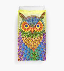 Colorful Rainbow Owl Duvet Cover