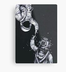 Astronaut and Diver Metal Print