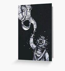 Astronaut und Taucher Grußkarte